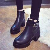 春秋新款短靴圓頭高跟馬丁靴英倫風裸靴女鞋厚底單靴粗跟短筒女靴