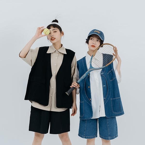 Queen Shop【01024030】單口袋素面五分袖寬版襯衫 兩色售*現+預*