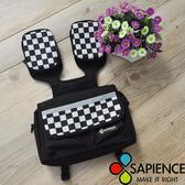 【饗樂生活】SAPIENCE 黑白格紋F1單車車手前袋/肩背包座桿包/多功能設計/多重收納空間