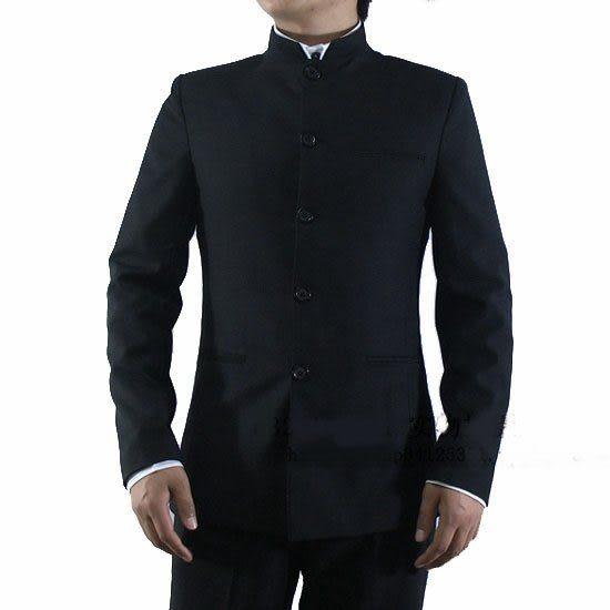 男士立領修身束腰男式唐裝漢服韓版純黑色中山裝