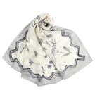 LANVIN滿版花卉印花披肩絲巾(灰色/展示品)487999