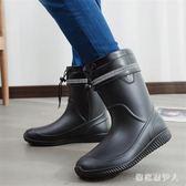 雨鞋 春夏季男士中筒防滑防水時尚工作鞋 QX5026【棉花糖伊人】