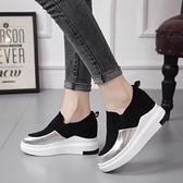 樂福鞋女鞋子2021春季新款厚底內增高單鞋運動休閒懶人鞋女一腳蹬 夏季新品