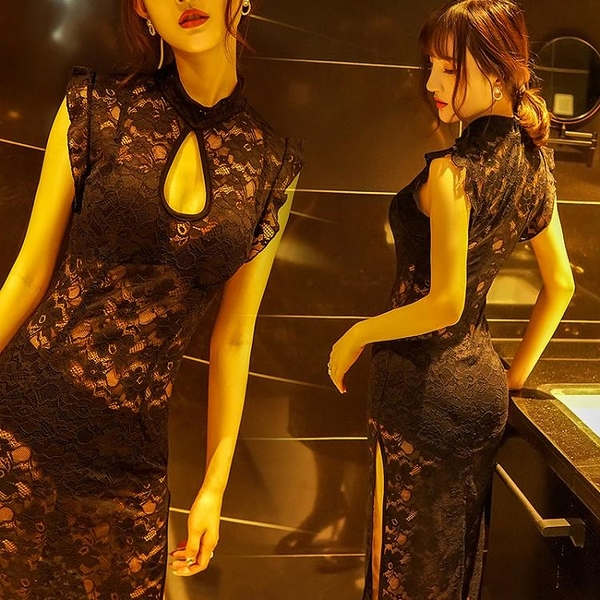透視禮服 洋裝 新款夜總會性感晚禮服連身裙夜場KTV佳麗工作服透視蕾絲長裙