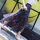 長裙 半身裙2020夏裝新款不規則碎花雪紡a字裙魚尾背帶裙