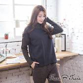 【Tiara Tiara】激安 假兩件式純棉衣x羅紋針織長袖上衣(深灰)