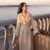 正韓複古chic女小香風時尚翻領氣質大袖子系帶收腰中長款風衣外套 全館85折