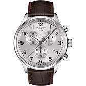 TISSOT天梭 韻馳系列 Chrono XL計時手錶-銀x咖啡/45mm T1166171603700