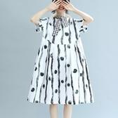 連身裙-短袖時尚高腰寬鬆娃娃裙女洋裝73te44【巴黎精品】