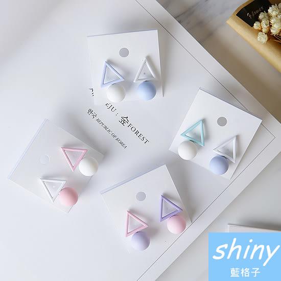 【DJH5311】shiny藍格子-鏤空三角圓形不對稱冰淇淋色耳環