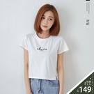 英字刺繡開衩擺短版T恤上衣-BAi白媽媽【310467】