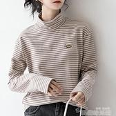 高領打底衫 2021秋冬新款上衣長袖高領條紋T恤女冬寬鬆百搭學生內搭打底衫 韓國時尚週