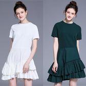 中大尺碼洋裝 圓領短袖百褶壓摺拼接氣質連衣裙 2色  L-5XL #bl2603811 ❤卡樂❤