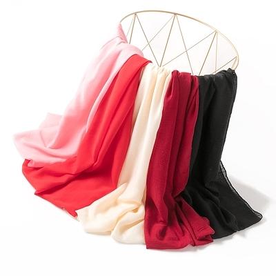 長圍巾 圍脖 秋冬女士空調旅遊防曬披肩薄款大絲巾秋禮品小禮物 5色 顏色隨機發 紅粉佳人