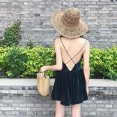原宿風小性感露背交叉吊帶V領絲絨洋裝褲小洋裙連體褲