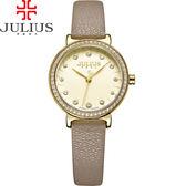 JULIUS 聚利時 翩翩花瓣舞鑽飾皮錶帶腕錶-卡其色/28mm【JA-965B】