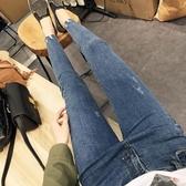 長款小腳褲女長褲百搭修身冬裝學生牛仔藍氣質復古彈性緊身薄款潮 晴天時尚館