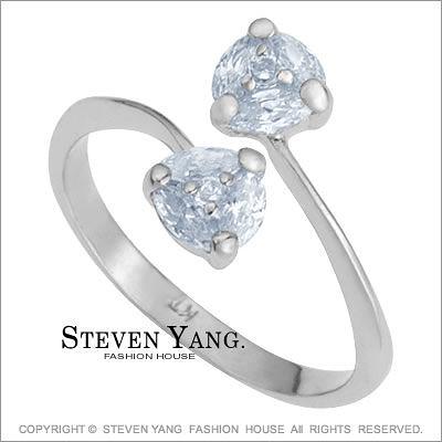戒指 正白K飾「甜蜜蜜」精鍍正白K 晶鑽白鋯 甜美淑女款