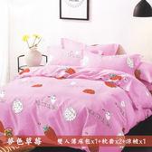 柔絲絨5尺雙人薄床包涼被 4件組「夢色草莓」《Life Beauty》