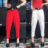 飛鼠褲 2020夏新款薄寬松大碼吊襠白色牛仔褲垮褲女式顯瘦小腳哈倫褲韓潮 曼慕衣櫃