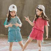 女童短袖套裝 女童夏裝套裝2019新款洋氣兒童短袖兩件套韓版休閒套裝 DJ10760【原創風館】