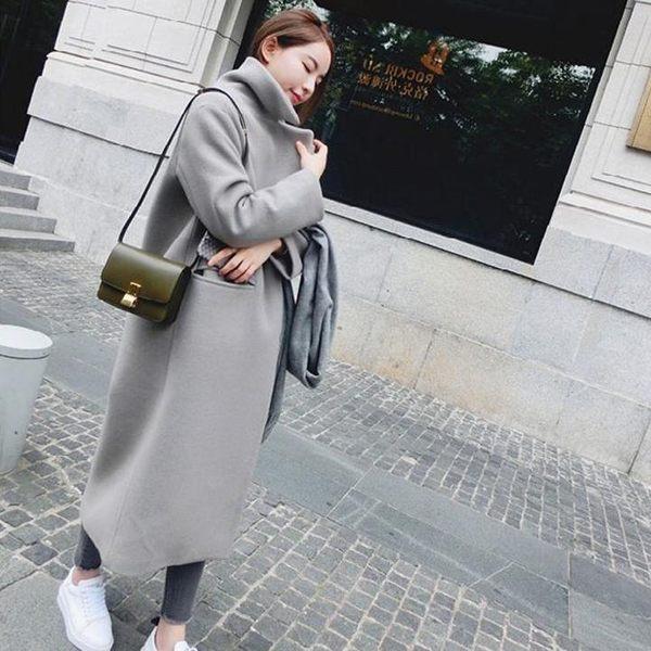 喬依  長板外套大衣【加絨保暖】 高質感有型 中長版毛呢外套 大衣【L120】