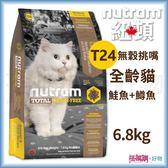 Nutram 紐頓 『 T24 無穀挑嘴全齡貓(鮭魚+鱒魚)』 6.8KG 【搭嘴購】
