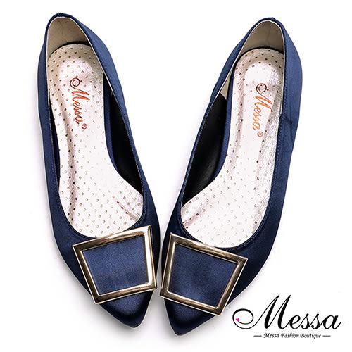 尖頭包鞋-Messa米莎 MIT迷人金屬方釦內真皮緞面尖頭鞋-藍色