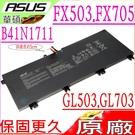 ASUS FX503 FX705 FX63 電池(原廠長排線)-華碩 B41N1711 B41BN9H,FX503V,FX503VD,FX705GM,FX63VM,FX63V