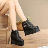 內增高短靴女鞋2019秋冬季新款女士坡跟厚底馬丁靴雙皮扣加絨棉靴