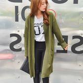 梨卡 - 秋冬韓版氣質甜美純色寬鬆口袋顯瘦中長版針織外套/5色DA014
