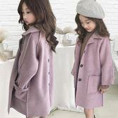 女童秋冬新品中大童雙面呢子大衣韓版洋氣兒童加厚裝毛呢外套