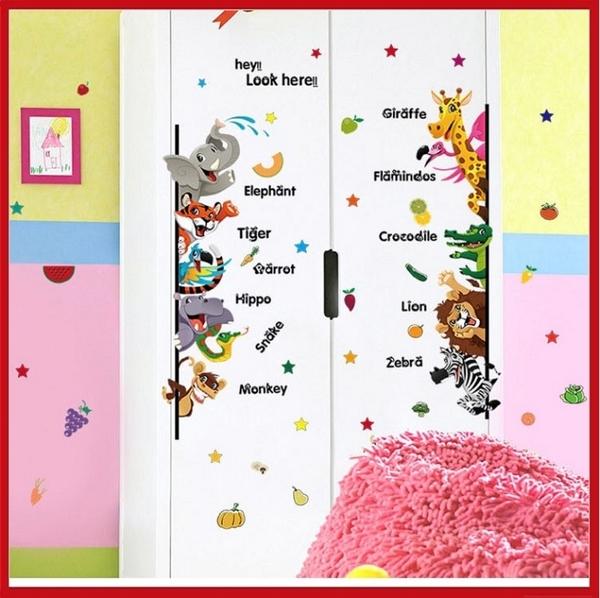 創意壁貼--卡通動物英文 SK7042【AF01013-1071】i-Style居家生活