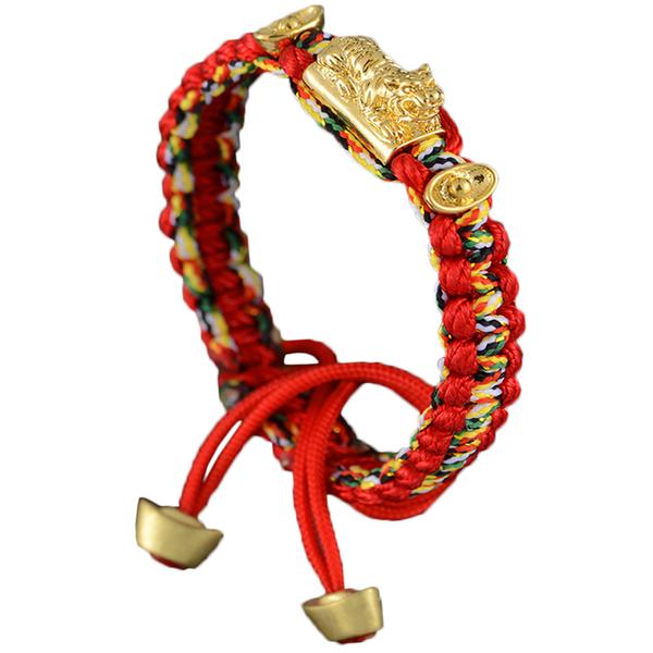 轉運錢虎雙元寶五色線手鍊-紅色《含開光》財神小舖【SLP8288-1】