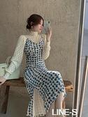 藍色愛心絲絨吊帶洋裝女秋冬季新款修身開叉裙子蕾絲高領打底衫