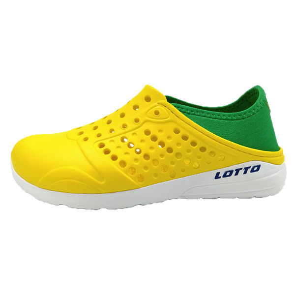 Lotto 樂得 童鞋 黃 綠 世足賽 巴西款 水鞋 洞洞鞋 輕便防水透氣 走路鞋 懶人鞋 洞洞拖鞋 LT8AKS6764