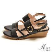 專櫃女鞋 一字雙條帶金屬飾楔型涼鞋-艾莉莎Alisa【149766】黑色下單區