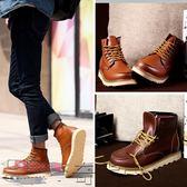 男靴馬丁靴英倫高幫鞋真皮男短靴工裝靴加絨棉鞋潮靴