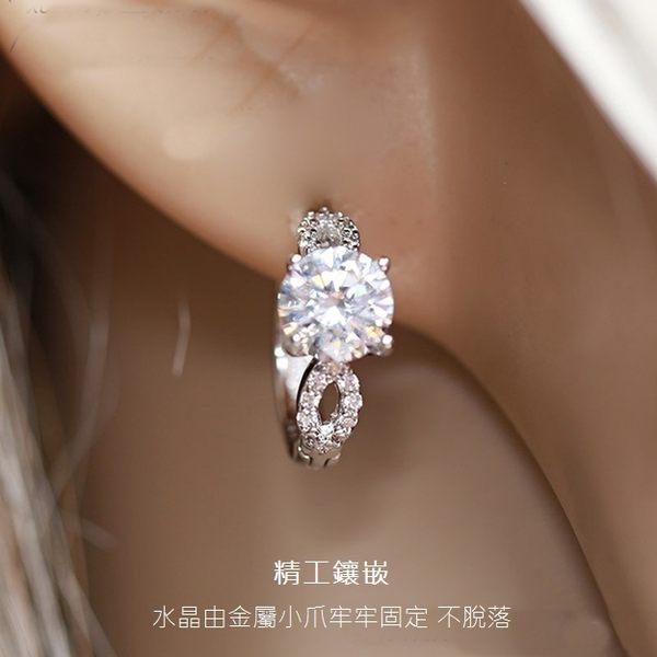 防抗過敏 水滴葉形 6mm天然白水晶 耳環耳圈扣-銀