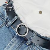 針扣皮帶女士百搭休閒韓國學生簡約腰帶韓版圓環扣復古褲帶  伊莎公主