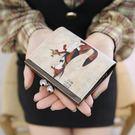 可愛卡通插畫塗鴨高檔復古搭扣零錢包短夾非中夾長夾手拿包#420007