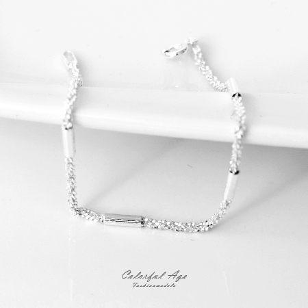 925純銀手鍊 完美浪漫細砂質感手環 可混搭手錶飾品或單配 柒彩年代【NPA14】銀管為固定不可滑動