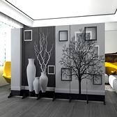 4扇防透屏風隔斷墻裝飾客廳酒店折疊移動簡約現代雙面辦公室歐式定制折屏 酷男精品館