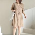 簡約時尚抽繩亞麻短袖洋裝連身裙【75-16-85668-21】ibella 艾貝拉