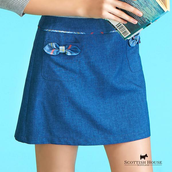 尺寸-立體格紋蝴蝶結雙口袋短裙 Scottish House【AC2161】