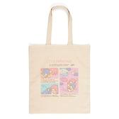 小禮堂 雙子星 日本製 直式帆布側背袋 (粉格圖款) 4550337-83972