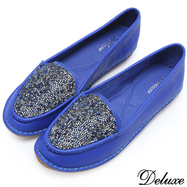 【Deluxe】全真皮質感水鑽精緻軟Q包鞋(藍)