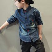 *╮小衣衫S13╭*時尚洗白長袖牛仔襯衫 1050921