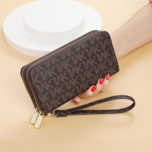 手拿包 女士錢包女長款2021時尚雙拉鏈手拿包大容量多功能錢夾卡包零錢包 ww