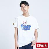 EDWIN 超市招財貓印花短袖T恤-男款 白色